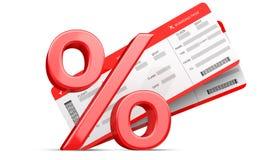 3D procentu lub rabata symbol z Dwa czerwonymi linia lotnicza abordażu przepustki biletami odizolowywającymi na bielu świadczenia Zdjęcie Stock