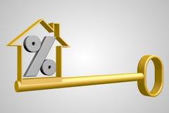 3D procentu znak i house/klucza kształt Obrazy Stock