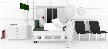 3d professional analysing / checking / examining patient lying on bed Royalty Free Stock Images