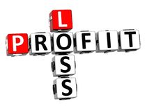 3D Profit Loss Crossword. On white background Royalty Free Stock Photo