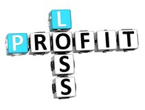 3D Profit Loss Crossword. On white background Royalty Free Stock Photos
