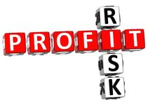 3D Profit Risk Crossword. On white backgound Vector Illustration