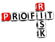 3D Profit Risk Crossword Royalty Free Stock Photography