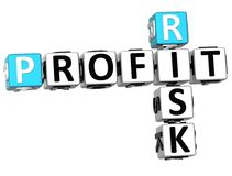 3D Profit Risk Crossword. On white background Stock Photography