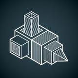 3D progettazione, forma dimensionale del cubo di vettore astratto Immagine Stock