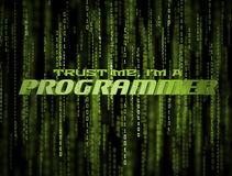 3D Programmer Matrix. Trust me, I'm a programmer 3D Matrix Background. Abstract green binary code poster Stock Photography