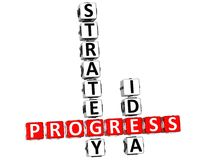 3D Progress Strategic Idea Crossword. On white background Royalty Free Stock Images