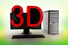 3D Projecting From Computer In Halftone Stock Image