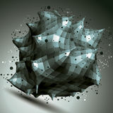 3D projekta wektorowy abstrakcjonistyczny przedmiot, poligonalny skomplikowany kształt Obrazy Stock