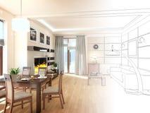 3 d projektu żyje wewnętrznego nowoczesny pokój, 3 d czynią Fotografia Royalty Free