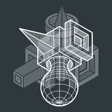 3D projeto, forma dimensional abstrata do cubo ilustração royalty free