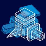 3D projeto, forma dimensional abstrata do cubo ilustração stock
