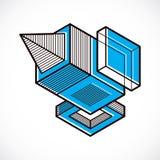3D projeto, forma dimensional abstrata do cubo ilustração do vetor
