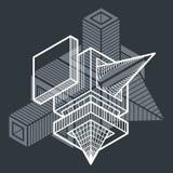 3D projeto, forma dimensional do cubo do vetor abstrato ilustração royalty free