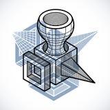3D projeto, forma dimensional do cubo do vetor abstrato ilustração do vetor