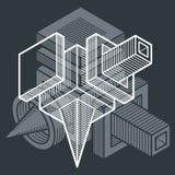 3D projeto, forma dimensional do cubo do vetor abstrato ilustração stock