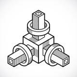 3D projeto, forma dimensional do cubo do vetor abstrato Fotos de Stock Royalty Free