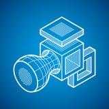 3D projeto, forma dimensional do cubo do vetor abstrato Fotografia de Stock Royalty Free