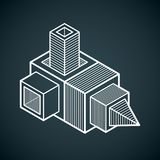 3D projeto, forma dimensional do cubo do vetor abstrato Imagem de Stock