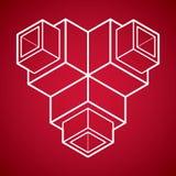 3D projeto, forma dimensional do cubo do vetor abstrato Fotografia de Stock