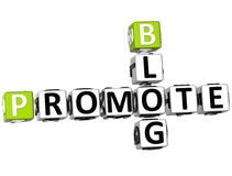 3D Promote Blog Crossword. On white background Royalty Free Stock Images