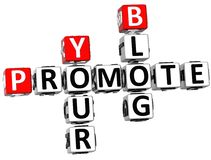 3D Promote Your Blog Crossword. On white background Royalty Free Stock Images