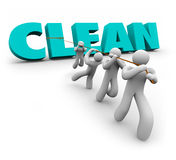 3d propre Team People Working Together Cleaners tiré vers le haut par Word Photo stock
