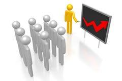 3D prosperity chart. 3D cartoon character and upwards arrow - great for topics like presentation, growth, success, prosperity etc Royalty Free Stock Photography