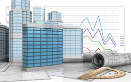 3d protractor. 3d illustration of generic building with urban scene over business graph background Stock Photos