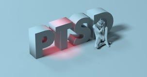 3d PTSD - maak van letters voorziend teken, dichtbij de vermoeide gedeprimeerde mens, illus Royalty-vrije Stock Afbeelding