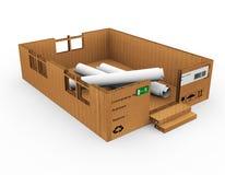 3d pudełka dom na białym tle Zdjęcia Stock