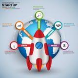 3D puesta en marcha del negocio digital abstracta Infographic Fotografía de archivo libre de regalías