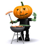 3d Pumpkin head cooks a barbeque. 3d render of a pumpkin head monster cooking on a barbecue royalty free illustration