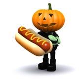 3d Pumpkin head eats a nice hotdog Stock Images