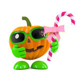 3d Pumpkin head has candy Royalty Free Stock Images