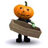 3d Pumpkin head holding a coffin Royalty Free Stock Photography