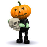 3d Pumpkin head monster holding a human skull Stock Image