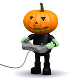 3d Pumpkin head monster plays a videogame Royalty Free Stock Images