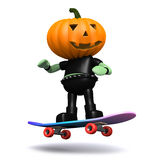 3d Pumpkin head monster on a skateboard Stock Photo