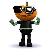 3d Pumpkin head monster wearing sunglasses Stock Image