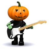 3d Pumpkin head plays electric guitar. 3d render of a pumpkin head playing electric guitar Royalty Free Stock Images