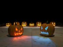 3D pumpkin heads Royalty Free Stock Photos