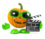 3d Pumpkin makes a horror movie Stock Photography