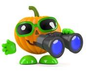 3d Pumpkin man with binoculars Stock Images