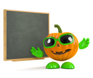 3d Pumpkin man at the blackboard Stock Photo