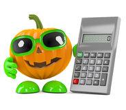 3d Pumpkin man with a calculator Royalty Free Stock Image