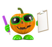 3d Pumpkin man with clipboard and pencil Stock Image