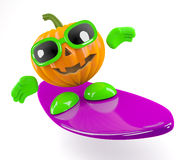 3d Pumpkin man goes surfing Royalty Free Stock Photography