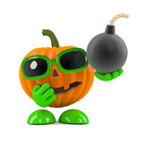 3d Pumpkin man has a bomb Stock Image