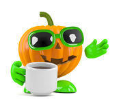 3d Pumpkin man has a coffee break Stock Photo